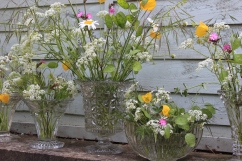 Cut and pressed glass vases, lead crystal vases available for hire - lots of shapes and sizes