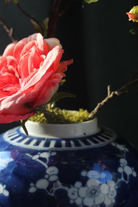 Cabbage roses in vintage oriental ginger jar - luxury faux-flowers