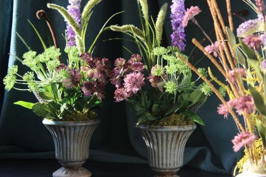 Luxury silk flowers - garden style urns